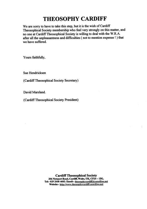 Theosophy Cardiff, Wales, UK:- Letter of Separation from the Welsh ...